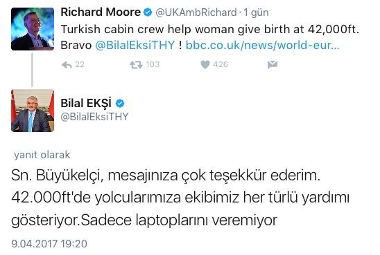 THY Bilal ekşi İngiltere cevap