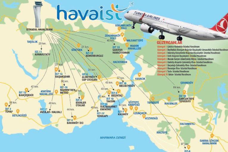 İstanbul Havalimanı'nın 7/24 ulaşım haritası çıkarıldı